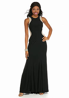 Xscape Beaded Mesh Illusion Side Inset Gown