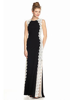 Xscape Lace Overlay Gown