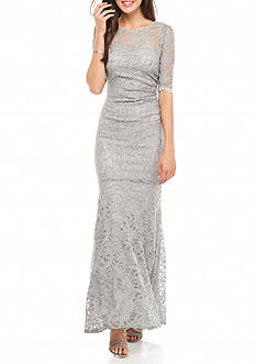 Xscape Metallic Lace Gown