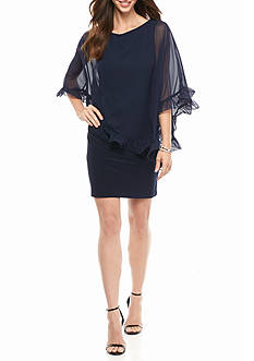 Xscape Sheer Ruffle Capelet Overlay Cocktail Dress
