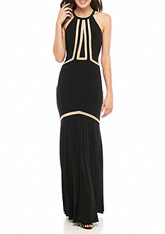 Xscape Illusion Cutouts Jersey Mesh Gown