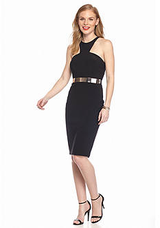 Xscape Belted Halter Cocktail Dress