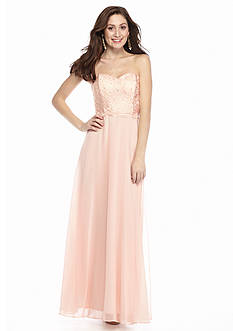 Xscape Lace-Up Back Strapless Gown