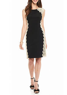 Xscape Side Panel Lace Sheath Dress