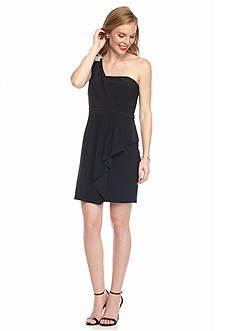 Xscape Bead Embellished One-Shoulder Cocktail Dress