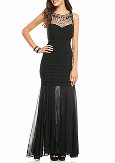Xscape Illusion Beaded Sweetheart Neckline Gown