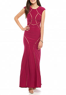 Xscape Jersey Gown with Mesh Insets