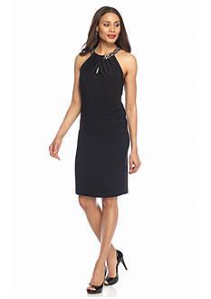 Xscape Bead Embellished Halter Cocktail Dress