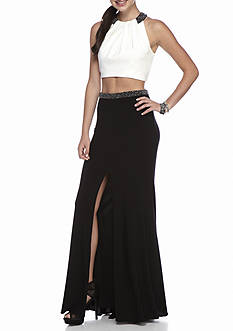 Xscape Bead Embellished Two-Piece Gown