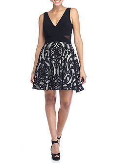 Xscape Embroidered Mesh Skirt Fit and Flare Party Dress