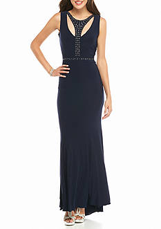 Xscape Cutout Neckline with Studs Jersey Gown