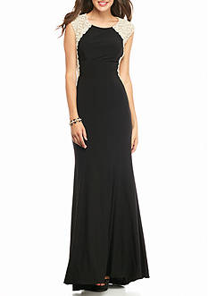 Xscape Lace Bodice Jersey Gown