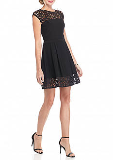 Xscape Laser Trim Fit and Flare Dress
