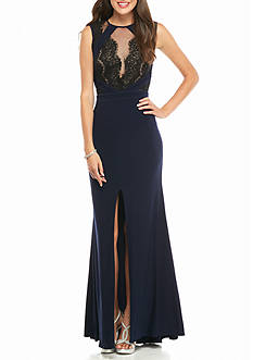 Xscape Lace and Mesh Bodice Jersey Gown