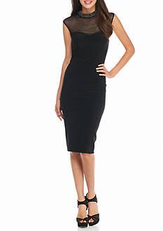 Xscape Body-con Beaded Neckline Midi Sheath Dress