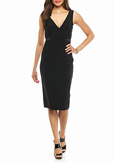 Xscape V-Neck with Side Illusion Mesh Cutout Cocktail Dress