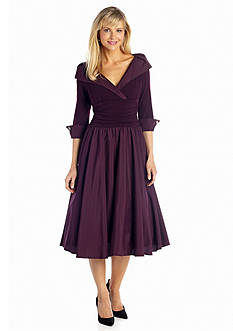 Jessica Howard Portrait Collar Surplice Fit and Flare Dress