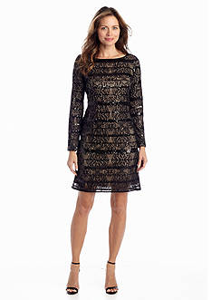 Jessica Howard Allover Lace Shift Dress with Sequin