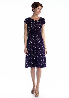 Laura Jeffries Cap Sleeve Polka Dot Aline Dress