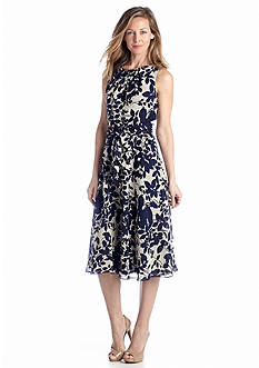 J Howard Floral Fit And Flare Belted Dress