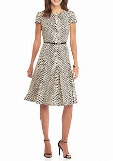 Laura Jeffries Belted Fit and Flare Dress