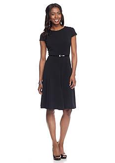 Laura Jeffries Belted A-line Dress