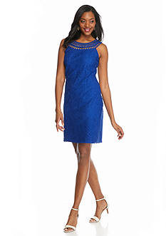 J Howard Embroidered Lace Sheath Dress