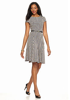 Laura Jeffries Printed Belted Fit-and-Flare Dress