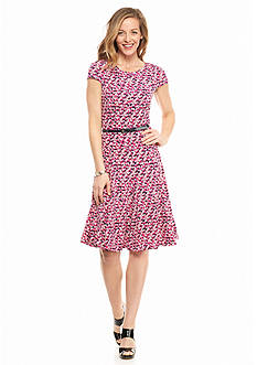 Laura Jeffries Printed Belted A-line Dress