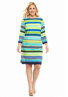 Laura Jeffries Plus Size Geometric Print Shift Dress