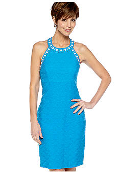 Jessica Howard Sleeveless Beaded Choke Neck Sheath Dress
