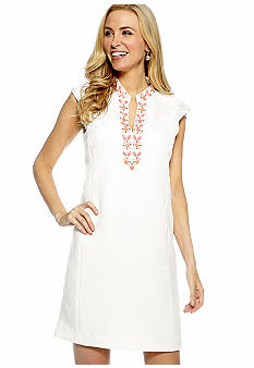 Jessica Howard Cap-Sleeved Shift Dress with Beaded Detail