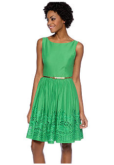 Jessica Howard Sleeveless Fit and Flare Belted Dress