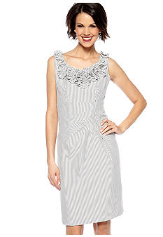 Jessica Howard Sleeveless Stripe Dress with Applique Neckline