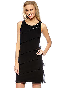 Jessica Howard Sleeveless Tiered Dress with Beaded Detail