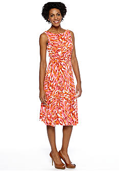 Jessica Howard Sleeveless Printed A-Line Dress