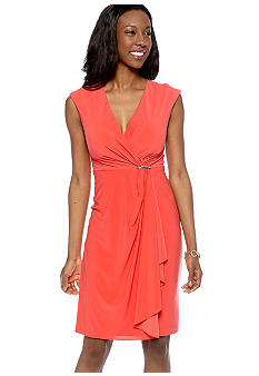 Jessica Howard Cap-Sleeved Sheath Dress with Cascade Ruffle