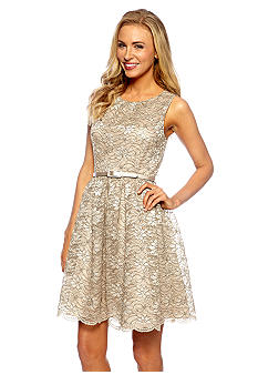 Jessica Howard Sleeveless Lace Belted Fit and Flare Dress