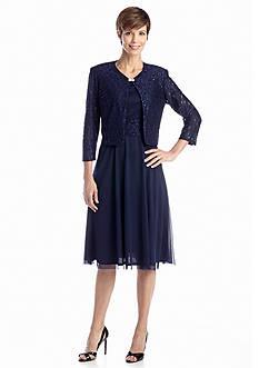 J Howard Three-Quarter Sleeve Jacket Dress