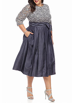 Jessica Howard Plus Size Plus Size Lace with Sequin Bodice Fit and Flare Dress