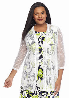 Lennie for Nina Leonard Plus Size Elongated Topper with Sequin