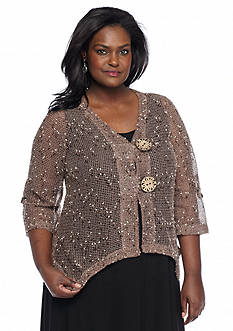 Lennie for Nina Leonard Plus Size Coconut Button Shrug
