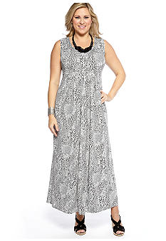 Lennie for Nina Leonard Plus Size Sleeveless Printed Maxi with Necklace