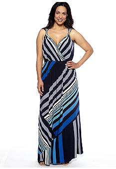 Lennie for Nina Leonard Plus Size Sleeveless Stripe Maxi Dress
