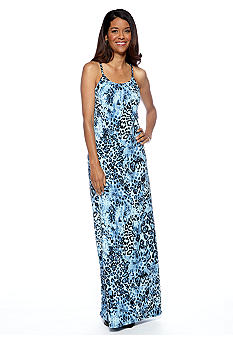 Lennie for Nina Leonard Chain Neckline Printed Maxi Dress