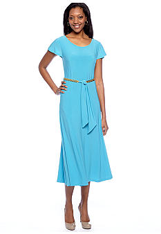 Lennie for Nina Leonard Cap-Sleeved Belted Dress