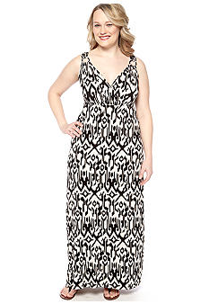 Lennie for Nina Leonard Plus Size Sleeveless Printed Maxi Dress