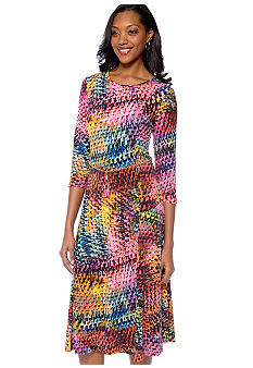 Lennie for Nina Leonard Printed Matte Jersey Dress