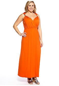 Lennie for Nina Leonard Plus Size Sleeveless Crossover V-Neck Maxi Dress