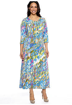 Lennie for Nina Leonard Plus Size Three-Quarter Sleeved Printed Dress